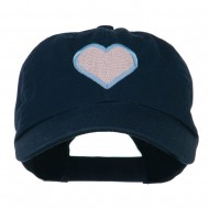 Heart with Outline Embroidered Cap - Navy