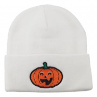 Halloween Excited Jack o Lantern Embroidered Long Beanie - White