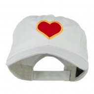 Heart with Outline Embroidered Cap - White