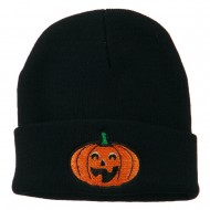 Halloween Excited Jack o Lantern Embroidered Long Beanie - Navy