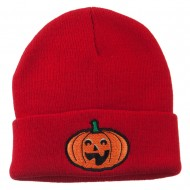 Halloween Excited Jack o Lantern Embroidered Long Beanie - Red