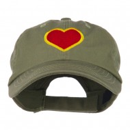 Heart with Outline Embroidered Cap - Olive