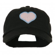 Heart with Outline Embroidered Cap - Black