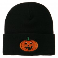 Halloween Excited Jack o Lantern Embroidered Long Beanie - Black
