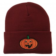 Halloween Excited Jack o Lantern Embroidered Long Beanie - Maroon