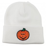 Halloween Jack o Lantern Embroidered Long Beanie - White