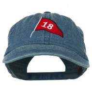 18th Hole Flag for Golf Embroidered Washed Cap - Navy