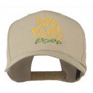 Wording of Have Faith Embroidered Cap - Khaki