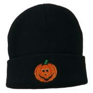 Halloween Jack o Lantern Embroidered Long Beanie - Navy