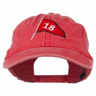 18th Hole Flag for Golf Embroidered Washed Cap - Red