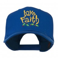 Wording of Have Faith Embroidered Cap - Royal