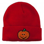 Halloween Jack o Lantern Embroidered Long Beanie - Red