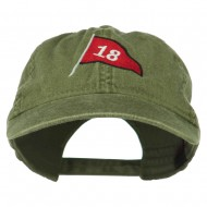 18th Hole Flag for Golf Embroidered Washed Cap - Olive Green