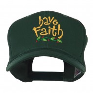 Wording of Have Faith Embroidered Cap - Green
