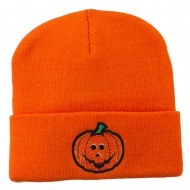 Halloween Jack o Lantern Embroidered Long Beanie - Orange