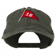 18th Hole Flag for Golf Embroidered Washed Cap - Black