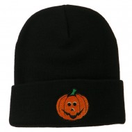 Halloween Jack o Lantern Embroidered Long Beanie - Black