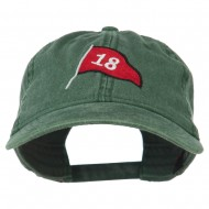 18th Hole Flag for Golf Embroidered Washed Cap - Dark Green