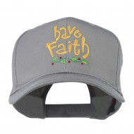 Wording of Have Faith Embroidered Cap - Grey