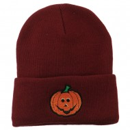 Halloween Jack o Lantern Embroidered Long Beanie - Maroon