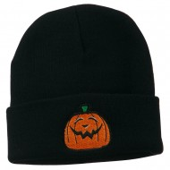 Halloween Goofy Jack o Lantern Embroidered Long Beanie - Navy