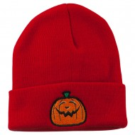 Halloween Goofy Jack o Lantern Embroidered Long Beanie - Red