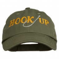 Hook Up Fishing Embroidered Low Profile Cap - Olive