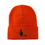 Halloween Witch Flying on a Broom Stick Embroidered Long Beanie - Orange