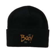Happy Halloween Boo Embroidered Long Beanie - Black