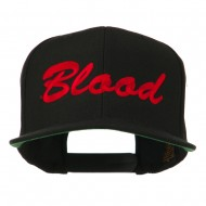 Flat Bill Hip Hop Casual Blood Embroidered Cap - Black