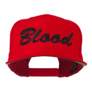 Flat Bill Hip Hop Casual Blood Embroidered Cap - Red