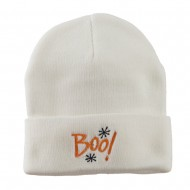 Happy Halloween Boo Embroidered Long Beanie - White