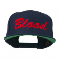 Flat Bill Hip Hop Casual Blood Embroidered Cap - Navy