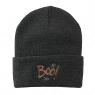 Happy Halloween Boo Embroidered Long Beanie - Grey
