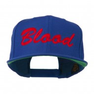 Flat Bill Hip Hop Casual Blood Embroidered Cap - Royal