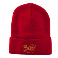 Happy Halloween Boo Embroidered Long Beanie - Red