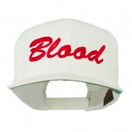 Flat Bill Hip Hop Casual Blood Embroidered Cap - White