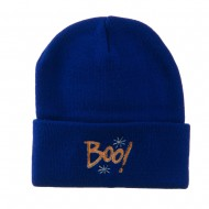 Happy Halloween Boo Embroidered Long Beanie - Royal