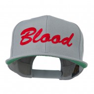 Flat Bill Hip Hop Casual Blood Embroidered Cap - Grey
