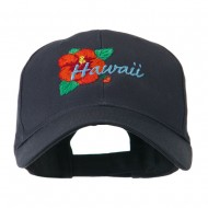 USA State Flower Hawaii hibiscus Embroidery Cap - Navy