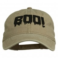 Halloween Boo Sign Embroidered Washed Cap - Khaki