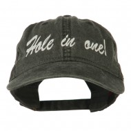 Hole in One Embroidered Washed Cap - Black