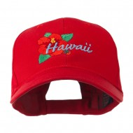USA State Flower Hawaii hibiscus Embroidery Cap - Red