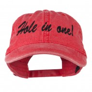 Hole in One Embroidered Washed Cap - Red