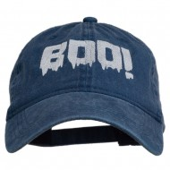 Halloween Boo Sign Embroidered Washed Cap - Navy
