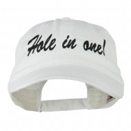 Hole in One Embroidered Washed Cap - White