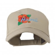 USA State Flower Hawaii hibiscus Embroidery Cap - Khaki