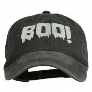 Halloween Boo Sign Embroidered Washed Cap - Black