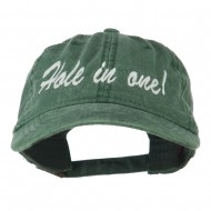 Hole in One Embroidered Washed Cap - Dark Green