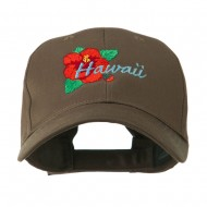 USA State Flower Hawaii hibiscus Embroidery Cap - Brown
